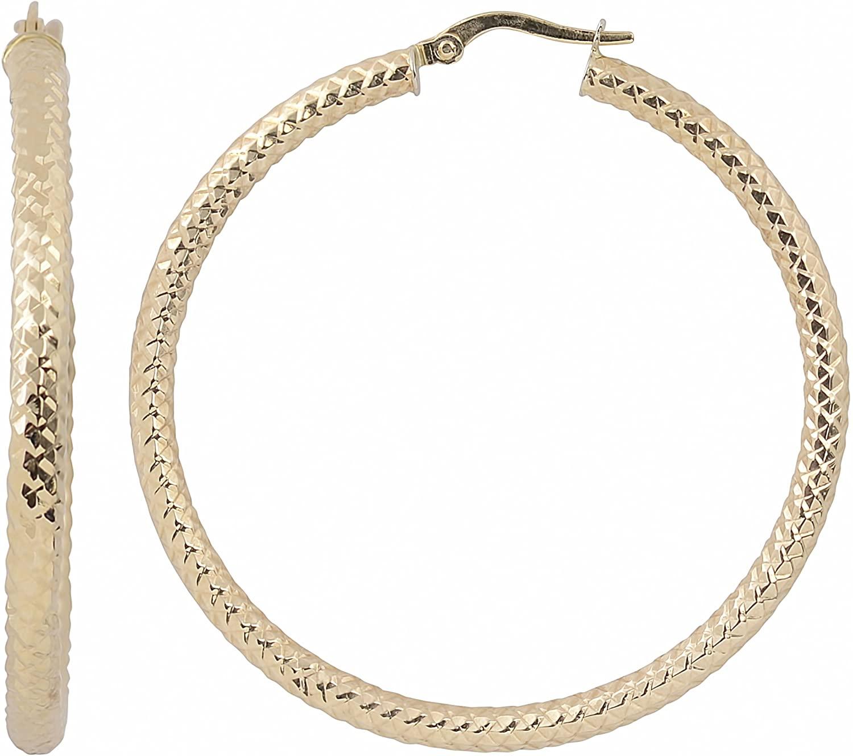 Kooljewelry 10k Yellow Gold 3x40 mm Diamond-cut Round Hoop Earrings