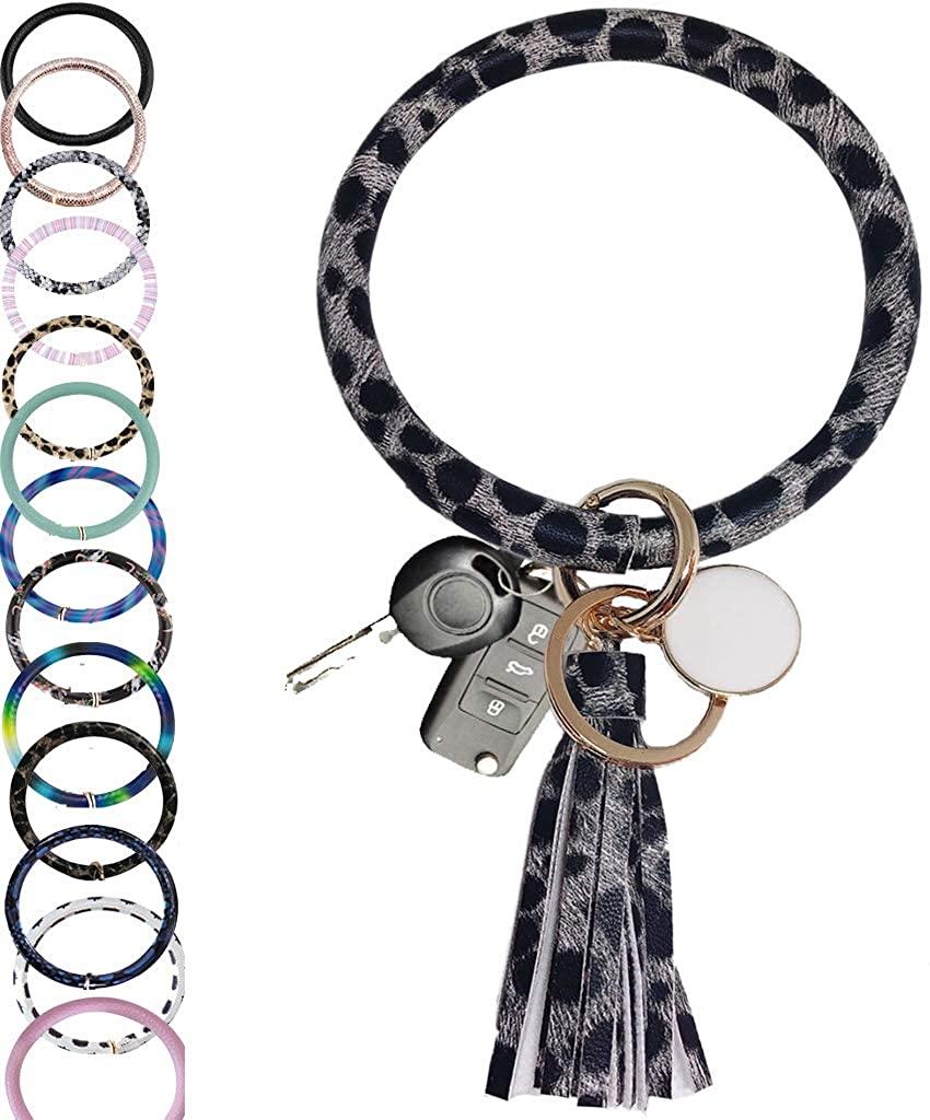 CYLMFC Wristlet Keychain Bracelet Bangle Keyring Leather – 3.2 Circle Key Ring Tassel Bracelet Holder For Women Girl