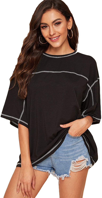 Romwe Women's Short Sleeve Round Neck Drop Shoulder Loose Summer Tee Top