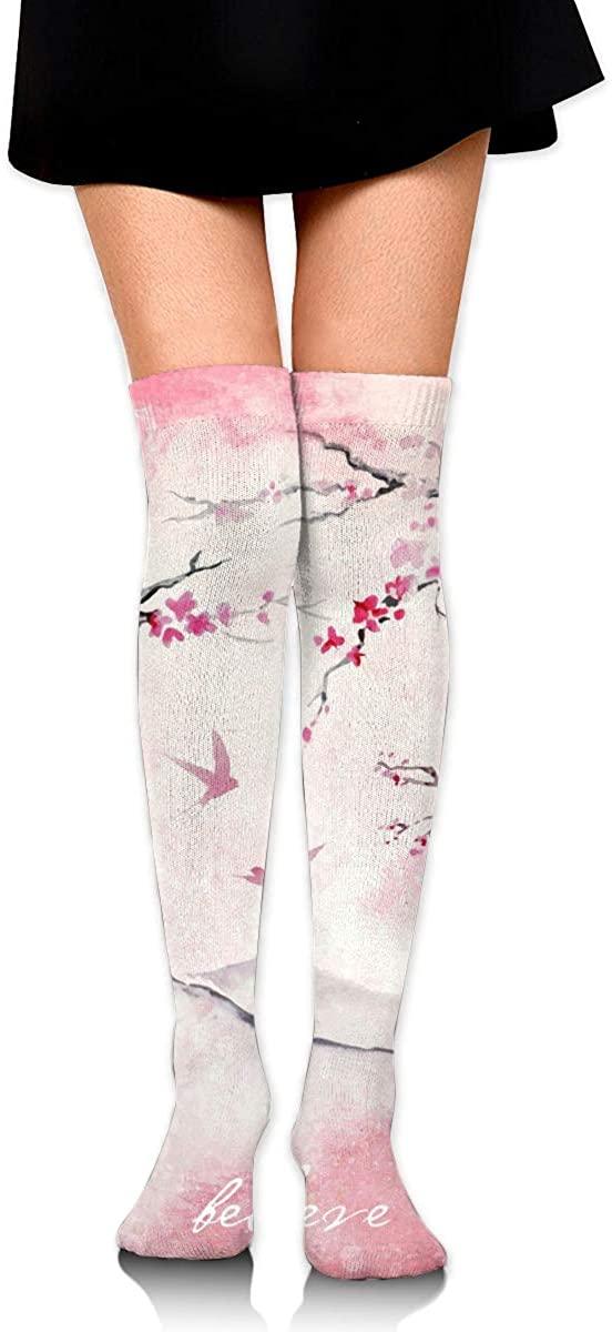 Dress Socks Sakura Floral Cherry Blossom Long Knee Hose Hold-Up Stockings