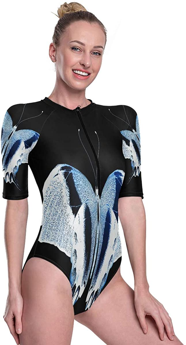 Womens One Piece Short Sleeve Rashguard Surf Swimsuit Unique Color Butterfly Luminous Bathing Suit