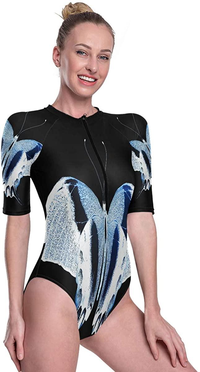 Women's One Piece Short Sleeve Rashguard Surf Swimsuit Unique Color Butterfly Luminous Bathing Suit