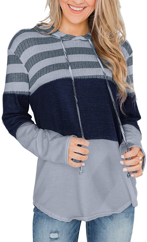Gognia Women's Long Sleeve Leopard T-Shirt Casual Stripe Tunic Top Color Block Blouse