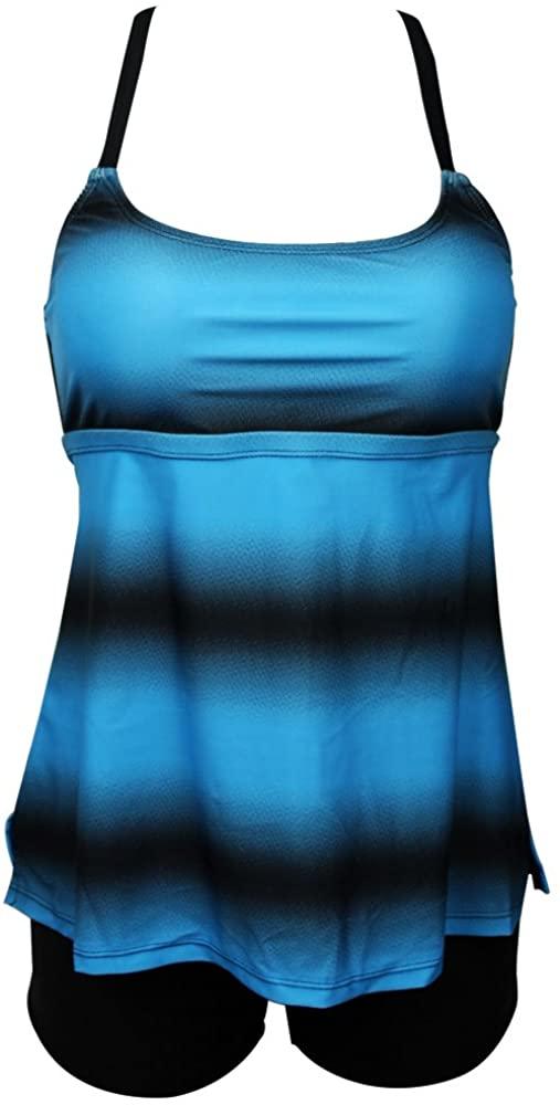 Bong Buy Womens Criss Cross Back Gradient Stripe Print Tankini Top with Boyshorts Swimsuit (Blue,XL)