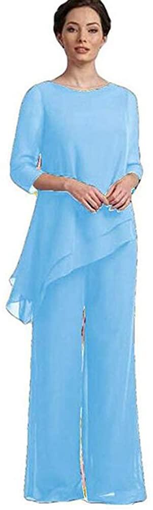 Women Sky Blue 2 Piece Mother of The Bride Pantsuit Half Sleeve Plus Size for Wedding US8
