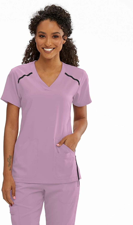 BARCO Grey's Anatomy Impact 7188 Women's Elevate Three Pocket Crossover V-Neck Scrub Top Rose Chiffon XL