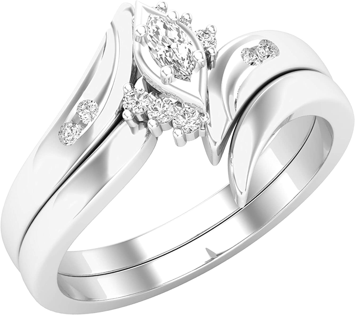 Dazzlingrock Collection 0.15 Carat (ctw) Marquise & Round White Diamond Bridal Engagement Ring Set, Available In 10K/14K/18K Gold & 925 Sterling Silver