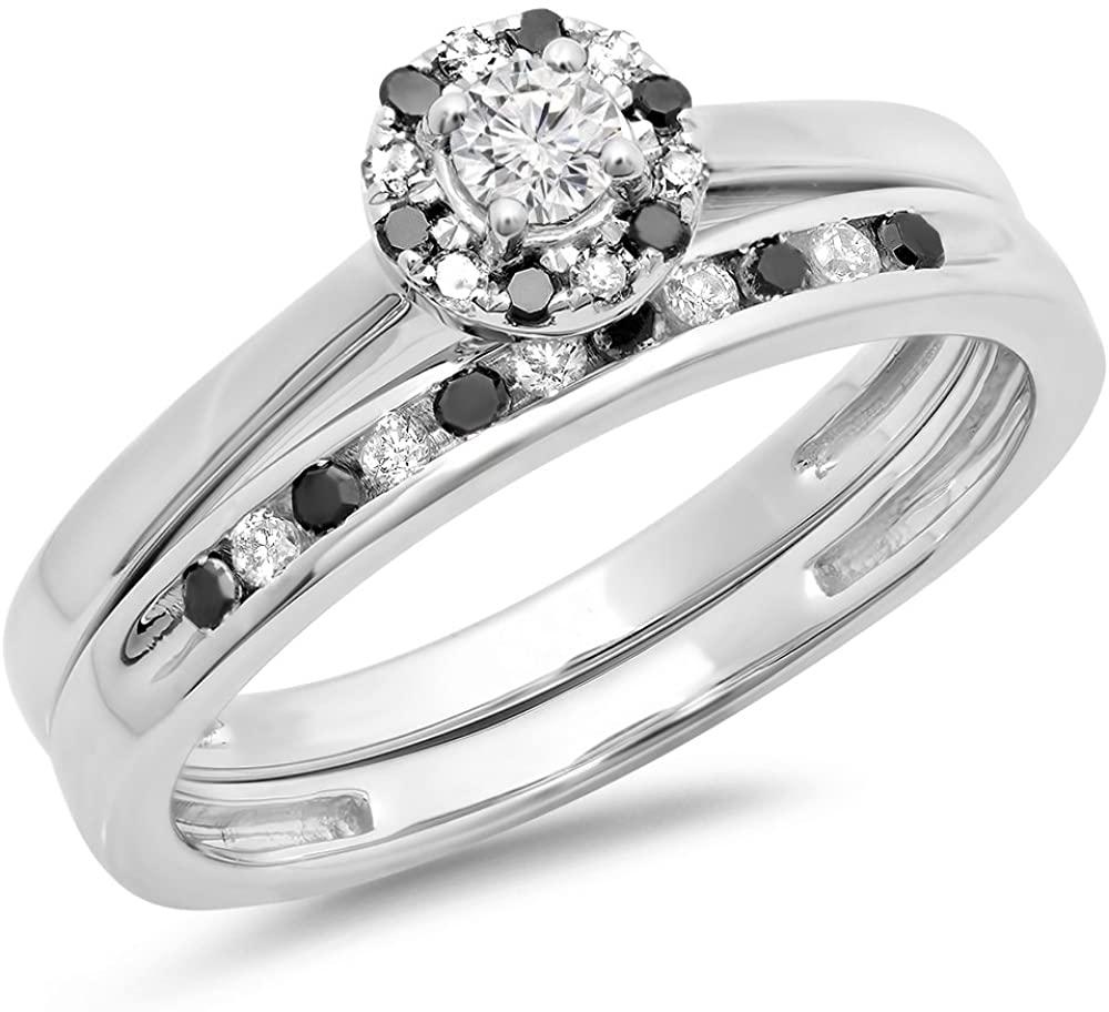 Dazzlingrock Collection 0.40 Carat (ctw) 10K Gold Round Black & White Diamond Ladies Bridal Halo Engagement Ring with Band Set
