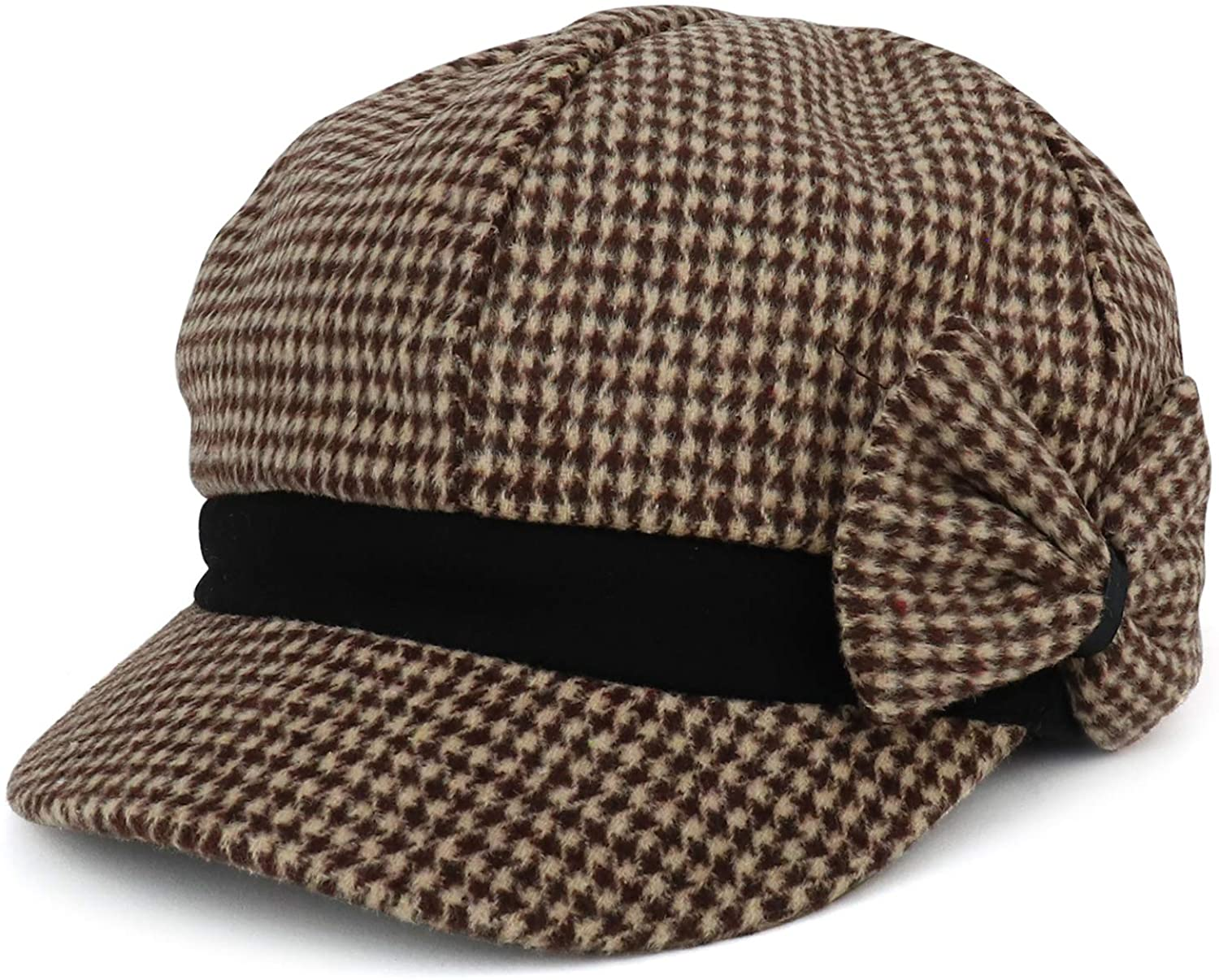 Armycrew Women's Houndstooth Pattern Newsboy Cap with Side Bow