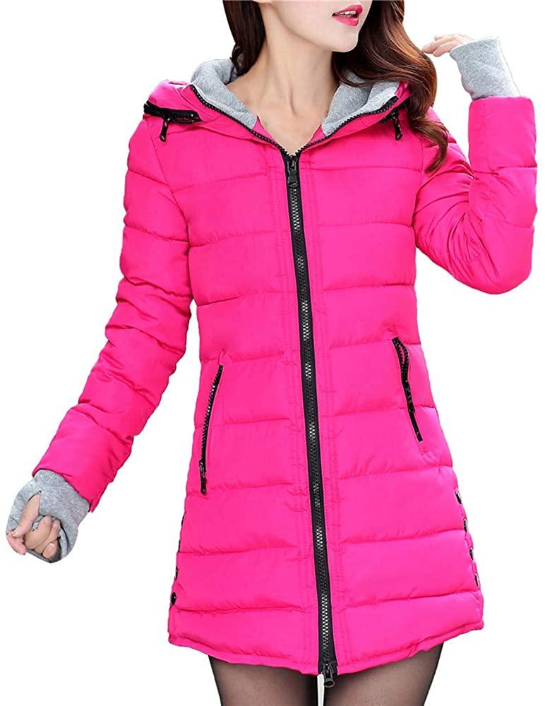 ZEFOTIM Women Long Sleeve Outerwear with Gloves Cotton-Padded Jackets Pocket Hooded Coat