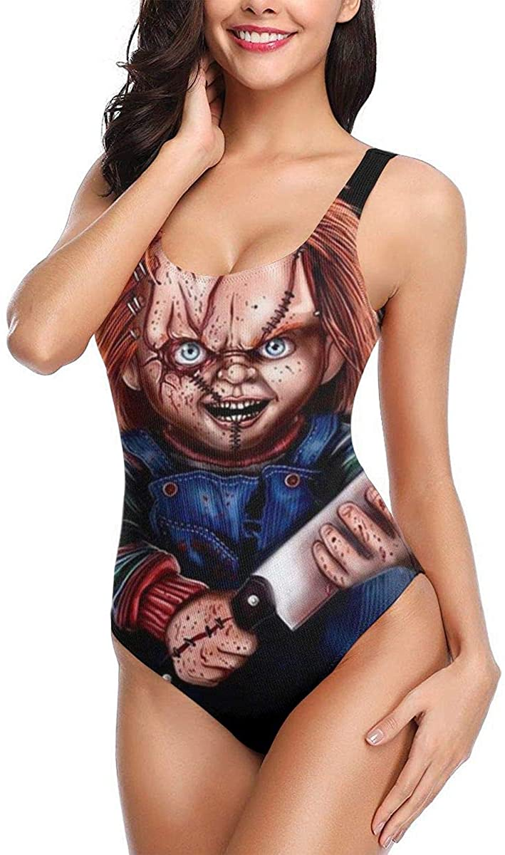 Women's One-Piece Swimsuit Chucky and Pennywise Elegant and Simple Design White