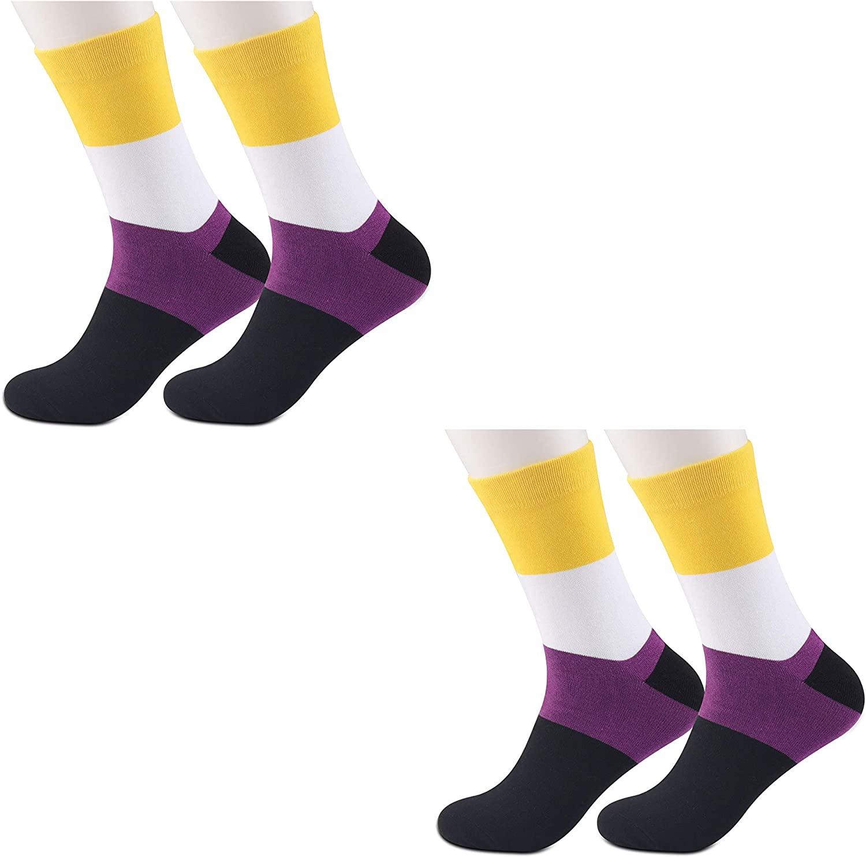 JXGZSO 2 Pairs Non Binary Pride Flag Socks Non Binary Gifts LGBT Nonbinary Gift Pride Queer Non-Binary Gift