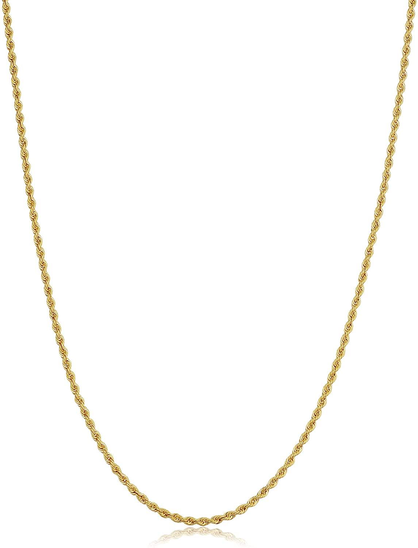 KoolJewelry Men Women 10k Yellow Gold 1.5MM 1.8MM 2.6MM 3.2MM 3.8MM 4.8MM Rope Chain Necklace 16-30 Inch