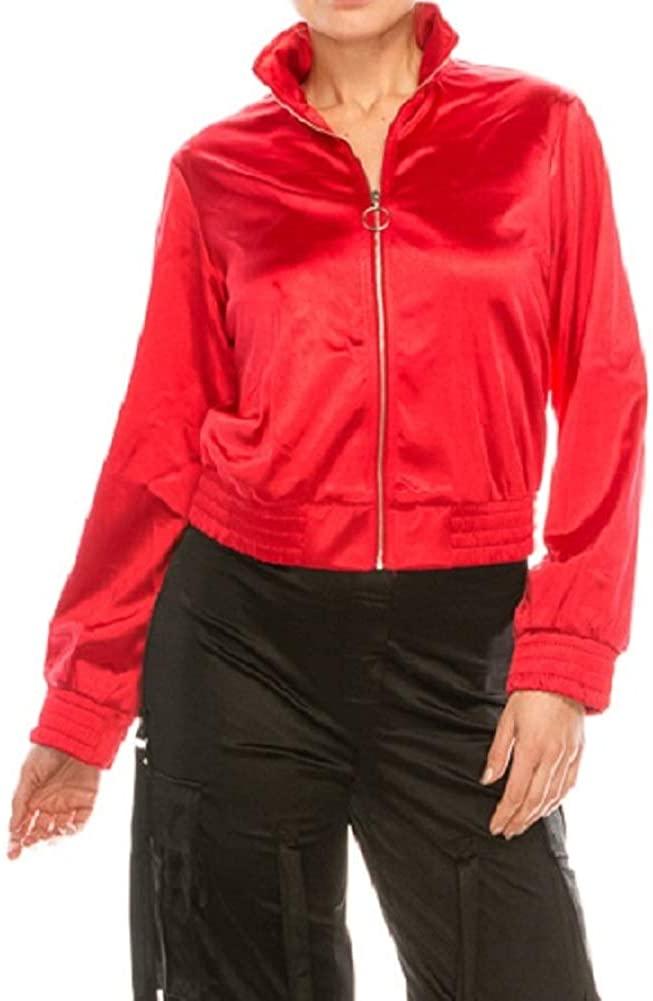WFFS Women's Zipper Bomber Satin Jacket – Casual Long Sleeve Full Zip Coat Parka with Collar Outwear