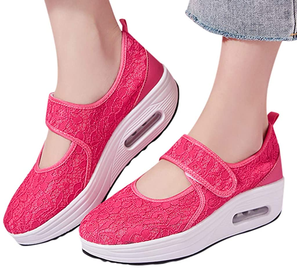 Rocker Shoes for Women Comfortable Working Lace Breathable Sneakers Platform Walking Nurse Shoes
