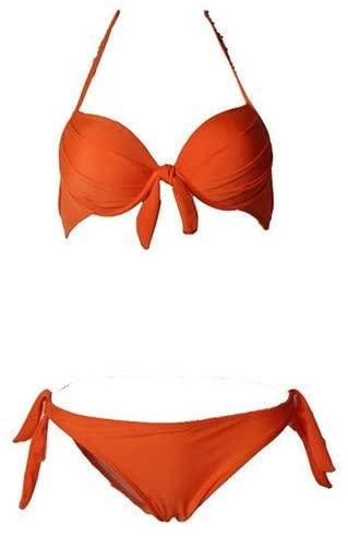 Polovi Womens Sexy Swimsuit Bathing Suit Brazilian Bandage Bikini Set Orange