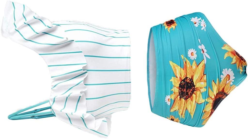 ZURQV Tankini Swimsuits for Women with Shorts Tummy Control Push-Up Padded Plus Size Overlay Sunflower Print Bikini