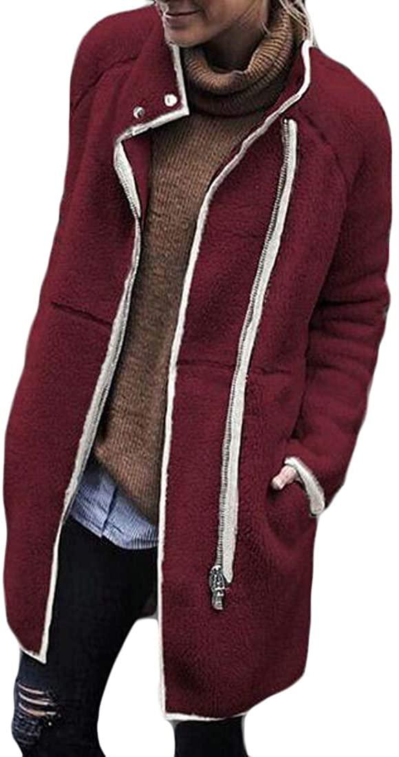 yibiyuan Women's Warm Fleece Sherpa Jacket Coat Winter Long Sleeve Outwear