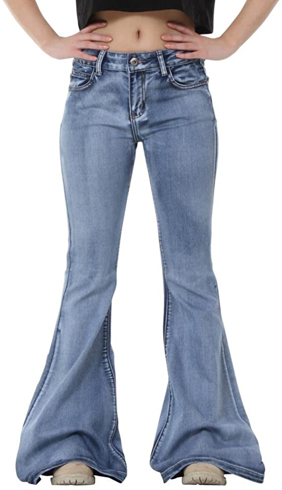 Glamour Outfitters 60s 70s Light Wash Flares Faded Bell-Bottom Flared Jeans - Blue
