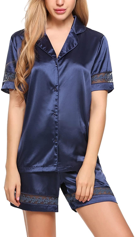 Ekouaer Women's Pajamas Set Silk Satin Sleepwear Short Sleeve Nightwear Button Down Pjs Sets Ladies 2-Piece Nightwear (S-XXL)