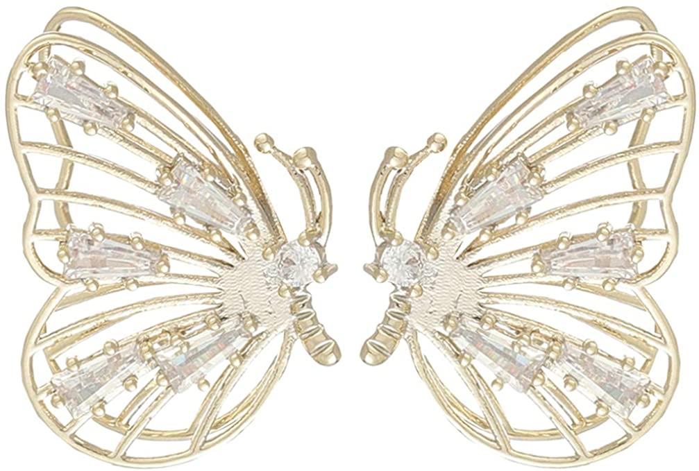 Happyyami Butterfly Ear Studs Crystal Earrings Silver Ear Pendant Pierced Ear Drop Hollow Ear Dangle Ear Jewelry Gift for Women Girls