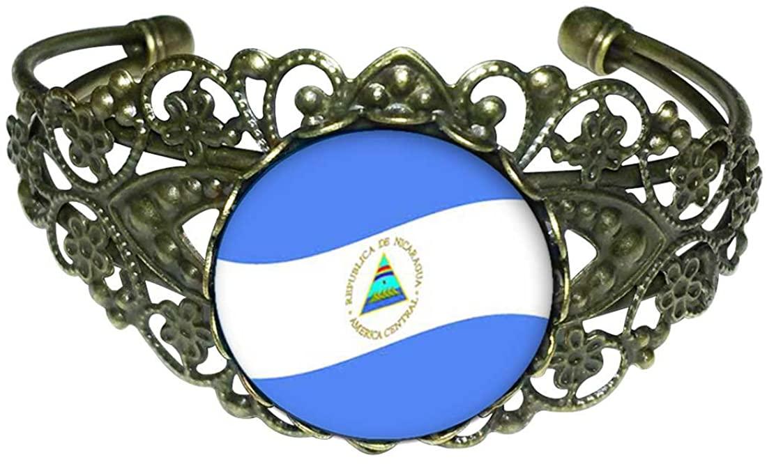 GiftJewelryShop Bronze Retro Style Nicaragua Flag Flower Cuff Bangle Bracelet Fashion Jewelry