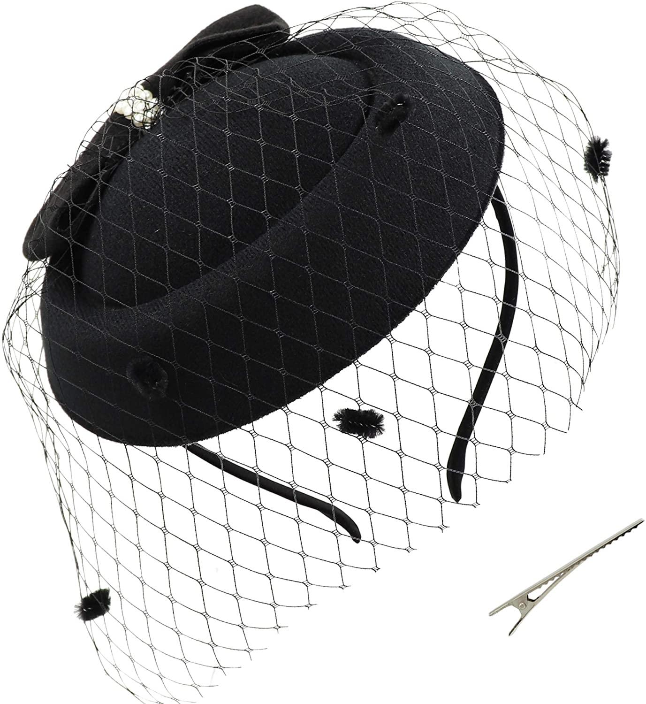 Umeepar Bowknot Pillbox Fascinator Hat Headband for Women Kentucky Derby Tea Party Wedding Hat with Veil Hair Clip