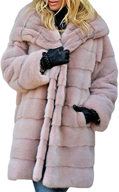 Smeiling Women's Long-Sleeves Slim Faux Fox Fur Collar Outwears Fashion Overcoats