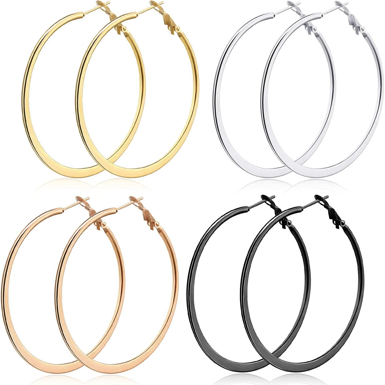 4 Pairs Big Flattened Hoop Earrings Stainless Steel Thin Hoop Earrings Set