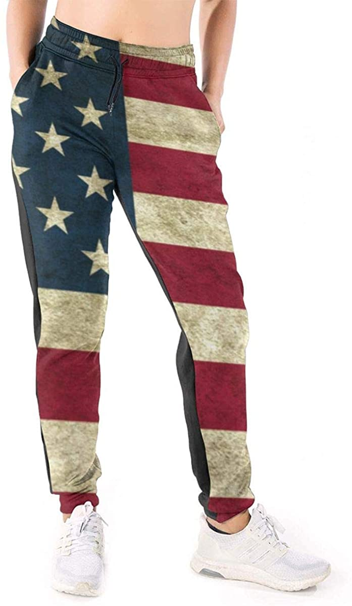 NOT Retro US Flag Women's 3D Printed Casual Sweatpants Loose Jogger Pants with Pockets