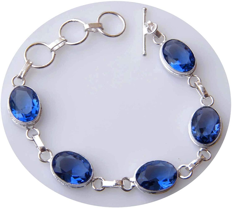 Surbhi Crafts Faceted Navy Blue Quartz Gemstone Chain Bracelet, Link Chain Bracelet, Silver Plated Bracelet, AH-14981