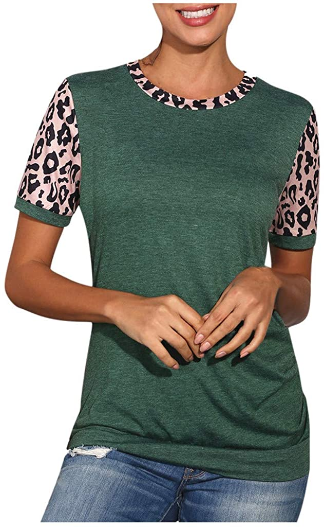 XBYEE Women's T-Shirts Short Sleeves Leopard Colorblock Striped Round Neck Casual Top Leopard Print Women Vests Lightweight