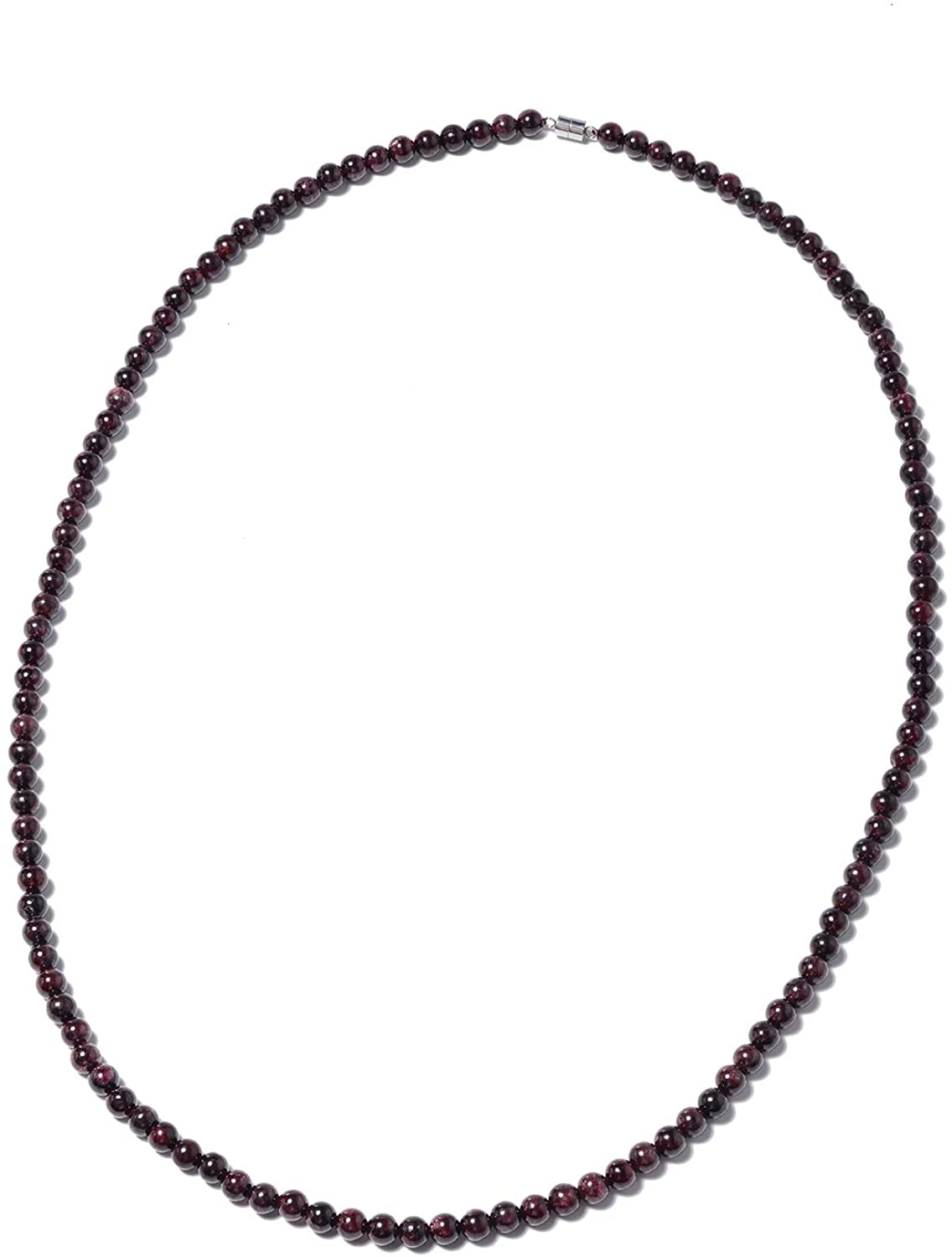 Shop LC Delivering Joy Stainless Steel Round Beads Garnet Beaded Necklace with Magnetic Clasp for Women Jewelry Gift Size 30