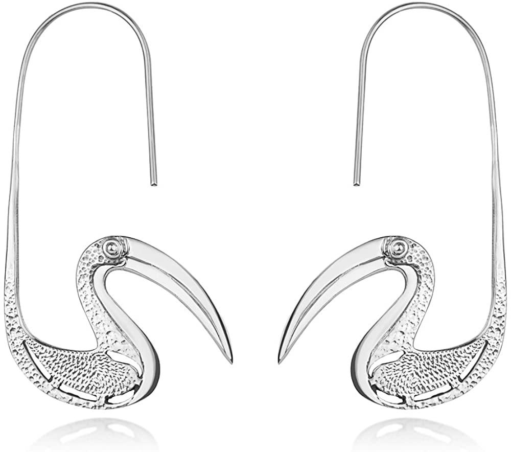 925 Sterling Silver Flamingo Bird Big Beak Vintage Large Unique Design Hook Earrings 2.1 inches
