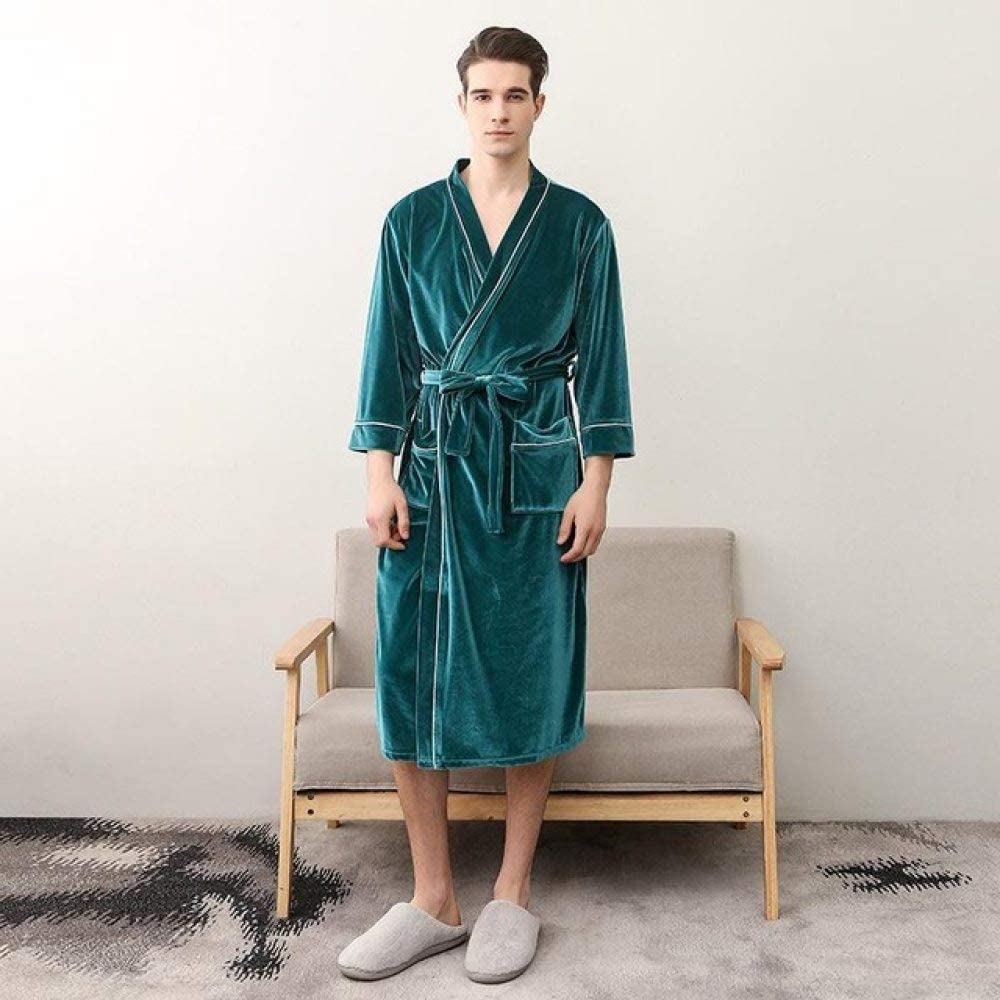 llwannr Robe Nightgown Sleep,Exquisite Velvet Lovers Robe Kimono Gown Winter Keep Warm Sleepwear Nightwear Casual Bathrobe Gown Elegant Women Solid Homewear,Men1,M