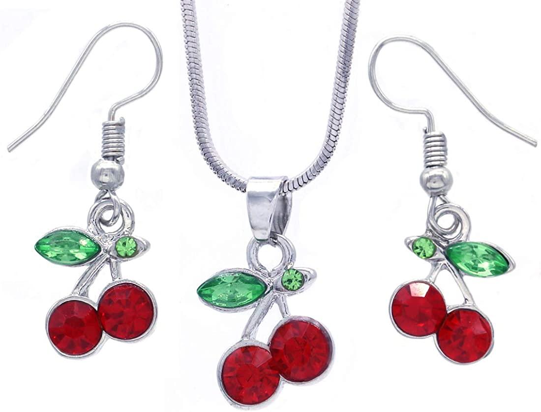 SoulBreeze Green Leaf Red Fruit Cherry Dangle Earrings Red Green Rhinestones Fashion Jewelry