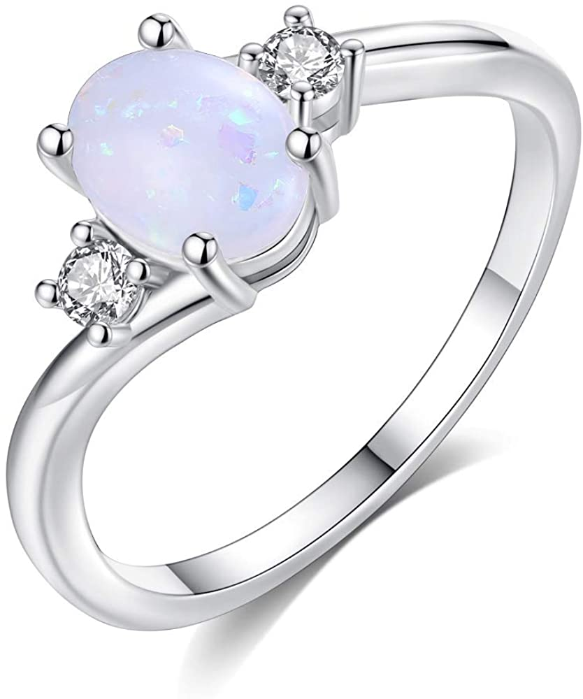 Exquisite Womens 925 Sterling Silver Ring Oval Cut Fire Opal Diamond Jewelry Birthday Proposal Gift Bridal Engagement Party Band Rings