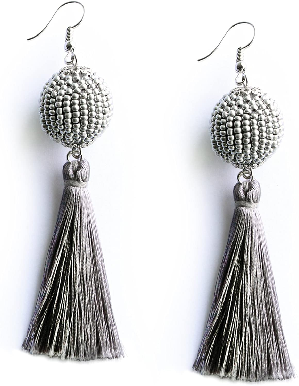 MHZ JEWELS Thread Wrapped Beaded Ball Tassel Long Fringe Drop Earrings Cute Elegant Dangle Tassel Earrings Boho Gifts for Women Girls