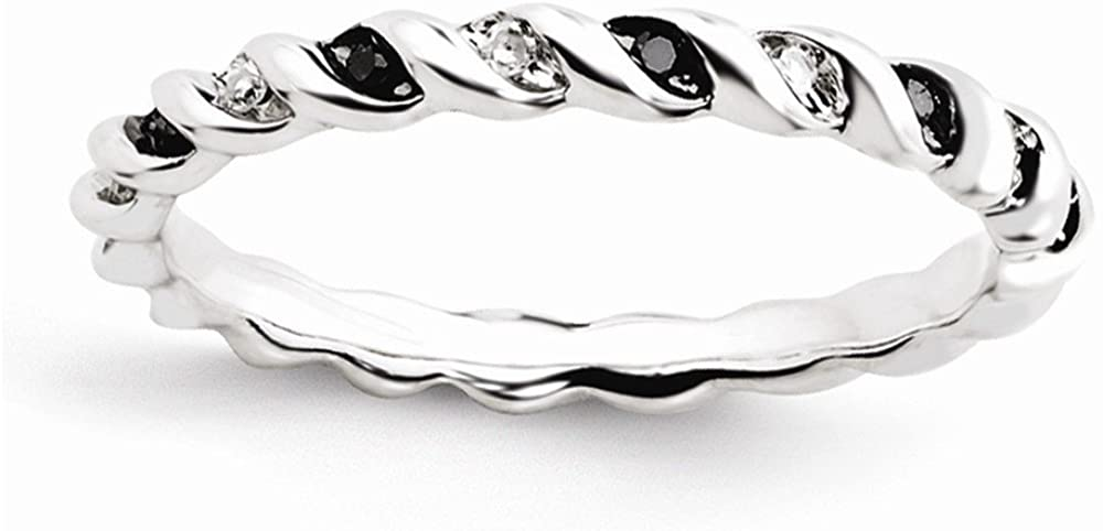 Beautiful Sterling silver 925 sterling Sterling Silver Stackable Expressions Black & White Diamond Ring
