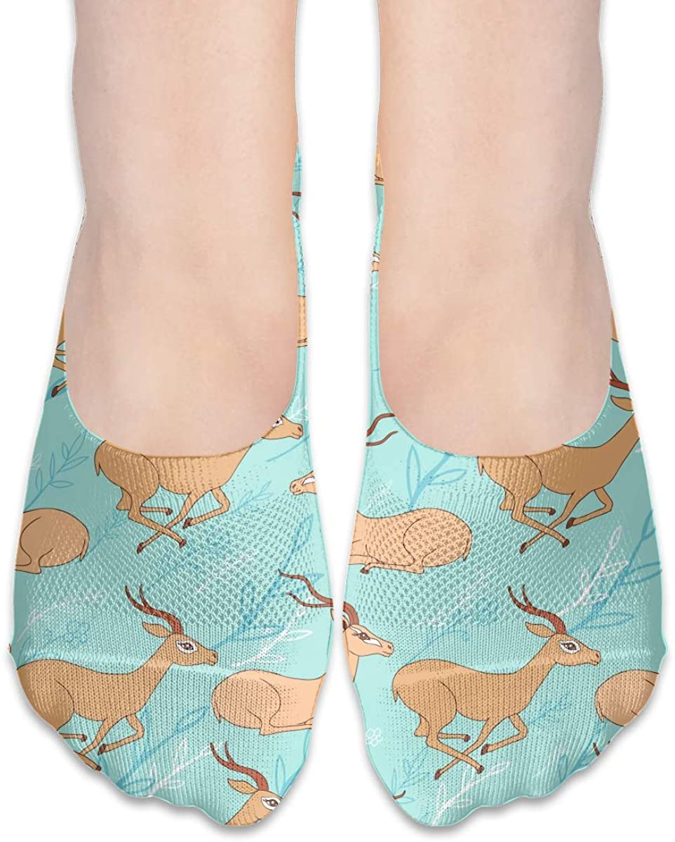 No Show Socks For Women Animal African Antelope Low Cut Sock Liners Invisible Socks