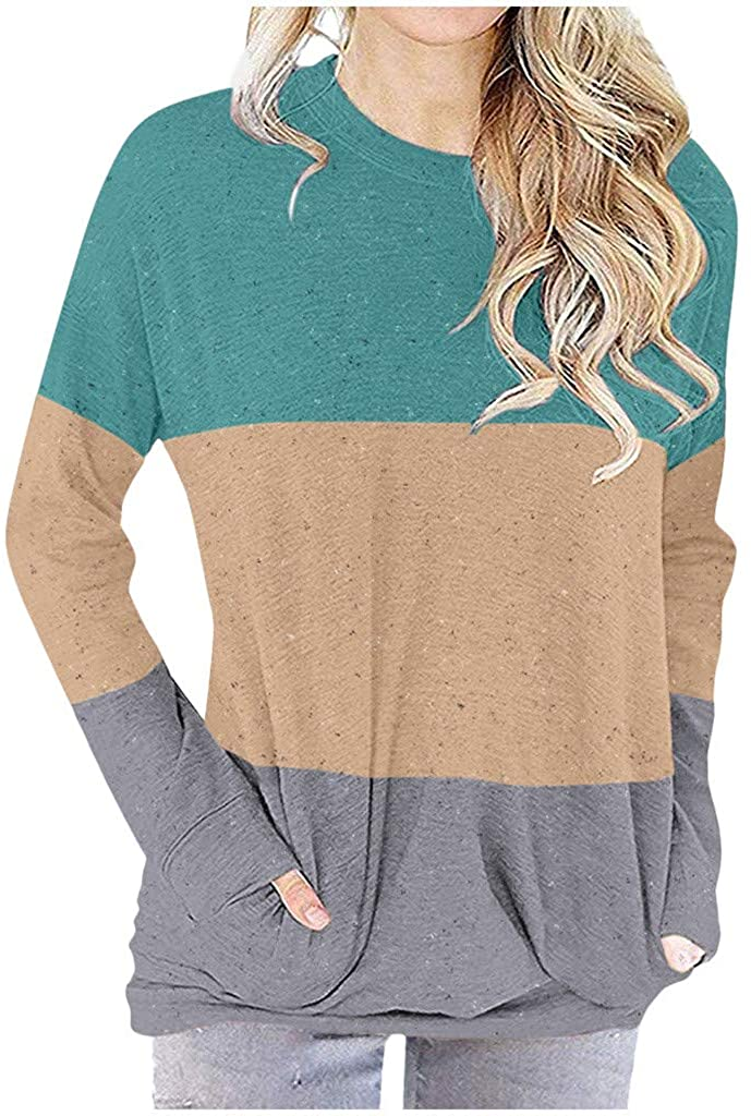 Mikey Store Women's Winter Fashion Shirt Long Sleeve Casual Tee Tunic Tops with Pockets