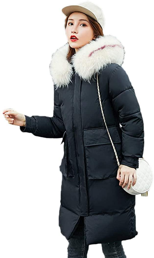 Azastar Women's Down Cotton Coat Faux Fur Hooded Big Pockets Jackets Slim Long Outerwear