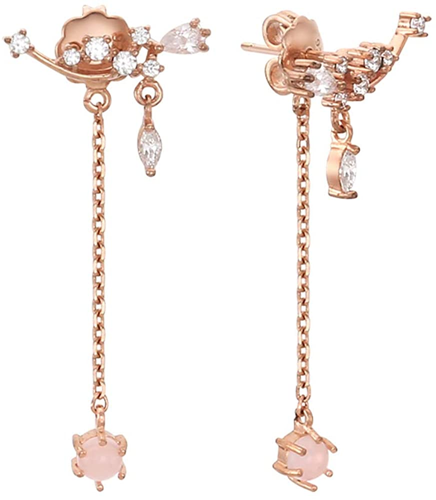 Lovely Pink Dangled Rose Gold Color 925 Stering Silver Drop Earrings
