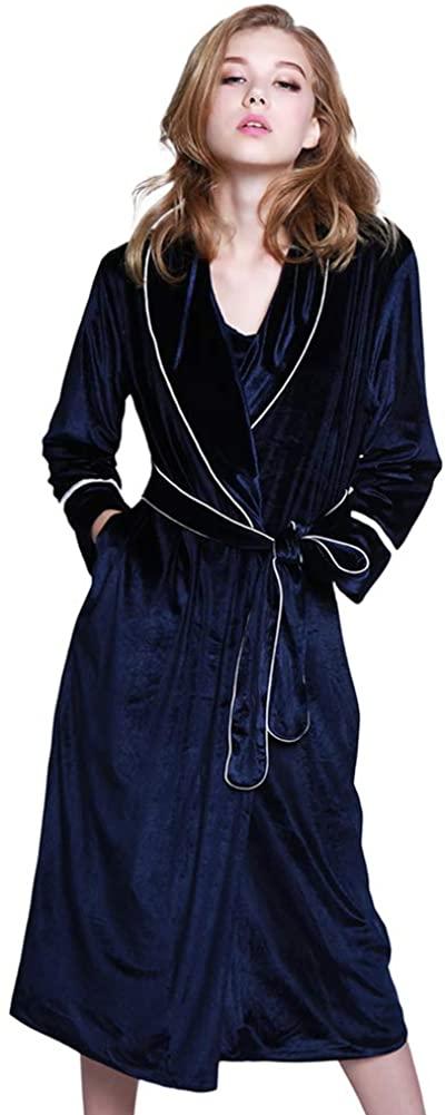 Long Velvet Women Bathrobe, Nightgown Thicken Long Sleeve Warm Pajamas