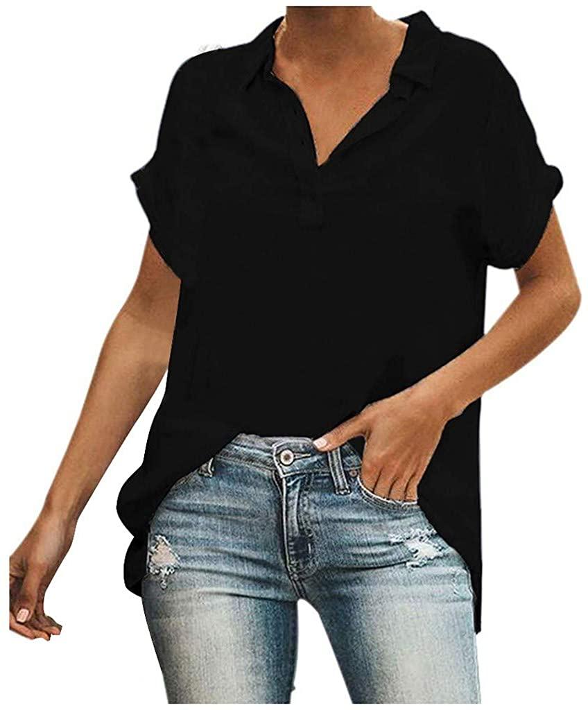 Pan Hui Women Relaxed-Fit Lightweight Short Sleeve Tunic Summer V Neck Casual Tank Tops Blouse Shirts