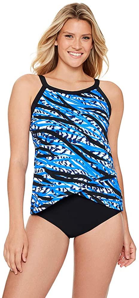 Penbrooke Women's Swimwear Jungle Motion Crossover Hem High Neck Underwire Bra Tankini Top