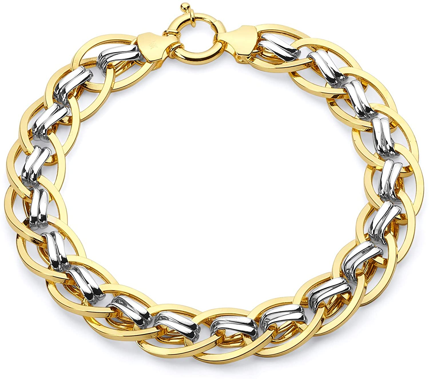 Wellingsale 14k Two 2 Tone White and Yellow Gold Chain Link Bracelet with Spring Ring Clasp - 7.5