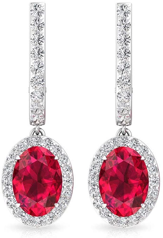 2.50 CT Ruby Glass Filled Certified Diamond Halo Hoop Earring, Women Oval Shaped Red Ruby Gemstone Bridal Earring, Birthday Statement Huggies Earrings, clip-on