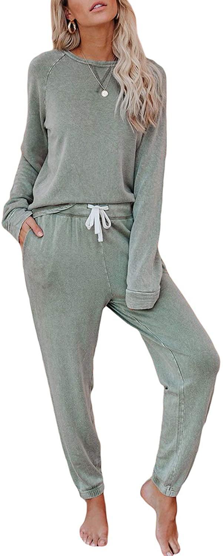 Asvivid Womens Round Neck Long Sleeve Long Pajamas Set Solid Tops and Pants PJ Sets Sleepwear Nightwear