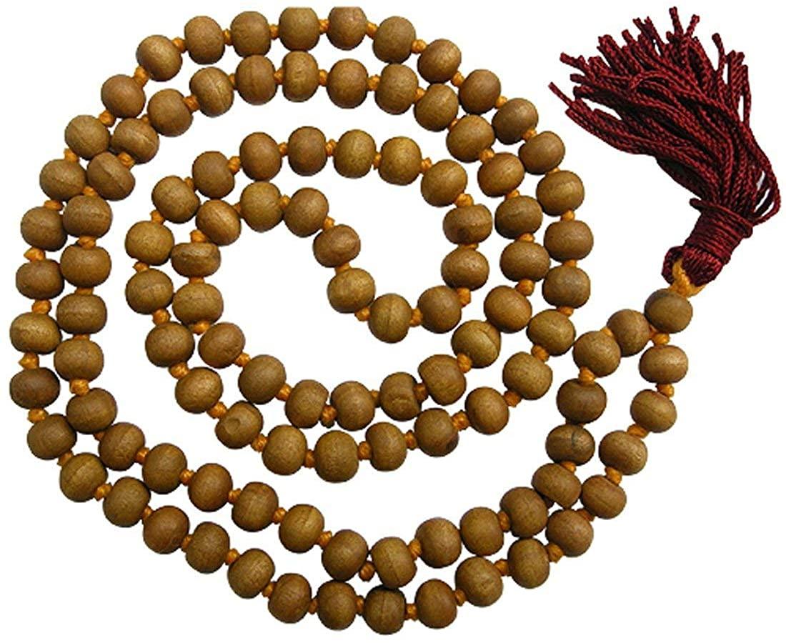 Odishabazaar White Sandalwood Mala 108 + 1 Beads Japa Meditation Yoga Rosary Necklace